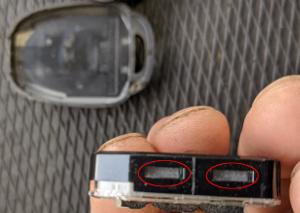トヨタリモコンキー電池カバーツメ位置